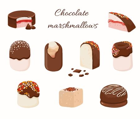 Set of pink marshmallows isolated. Homemade chocolate pie . Delicious dessert, vector cake. Christmas food