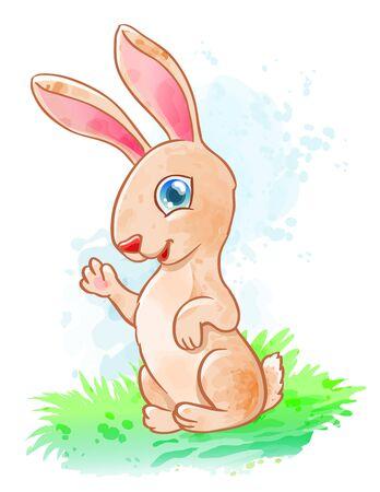 Cute cartoon bunny (rabbit). Funny kids baby animal. Vector watercolor illustration