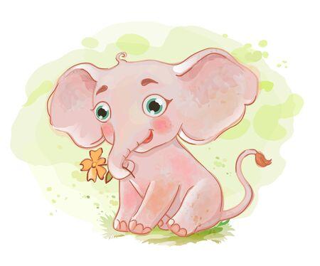 Cute baby elephant. Cartoon vector animal Çizim