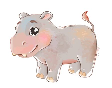 Cute baby hippo isolated. Cartoon hippopotamus in watercolor style. Suitable for sticker, print, kids book