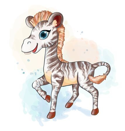 Little zebra in watercolor style. Vector baby animal illustration suitable for nursery decoration, sticker, print or kids coloring book