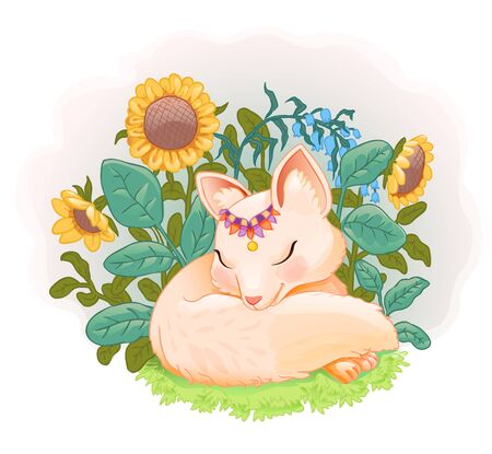 Sleeping baby fox lying in the grass among the sunflowers. Vector background