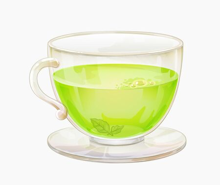 Green tea in glass mug isolated. Transparent cup with herbal drink Vecteurs