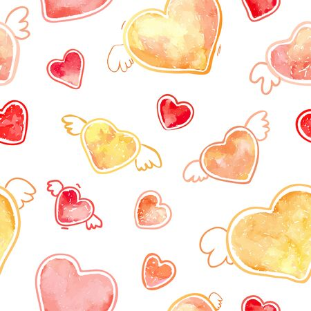Pink and yellow hearts seamless pattern. Valentine's day watercolor wrapping template