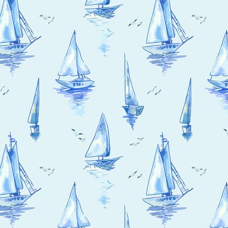Blue boats wallpaper, scrapbooking paper or seamless wrapping. Vector sailboats background Vettoriali