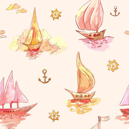 Sailboats. Pink sunset wallpaper. Vector hand-drawn seamless background
