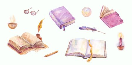 Magic watercolor set. Old books, open and closed, feather pen, glass ball and burning candles isolated on white. Stickers or vintage writer's elements collection