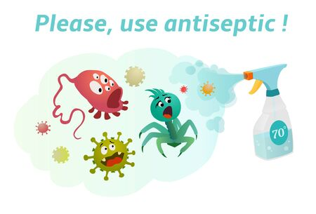 Use antiseptic with a content of more than 70% alcohol. Sanitizer spray kills bacteria and viruses. Defeat coronavirus!