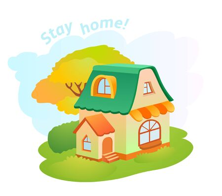 Cartoon vector little house on green grass. Lovely illustration. Stay home!