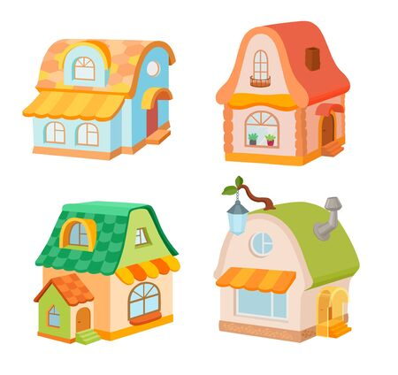 Cute cartoon houses illstrations set. Flat icons. Bright  fairytale cottages isolated
