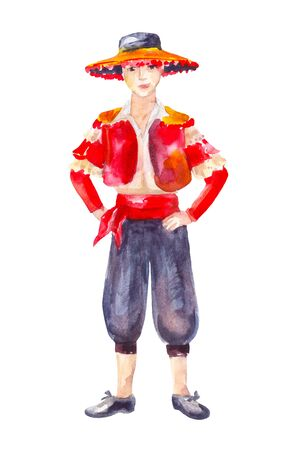 Spanish man in red traditional costume isolated on white. Watercolor illustration