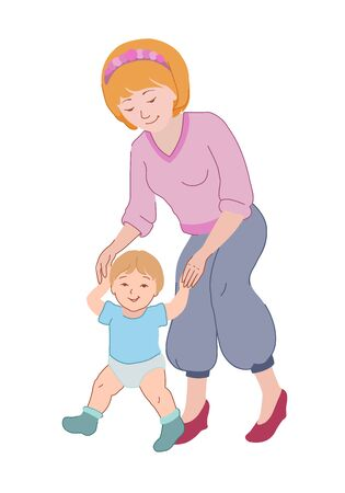 Mom teaches a child to walk. Mother's day drawing. Family concept