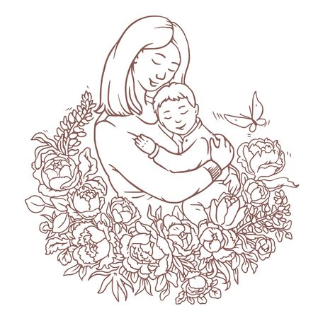 Lovely motherday coloring page with floral composition. Mother holds her son in her arms