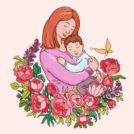 Mother and her son. Lovely floral composition suitable as blogger's mom avatar, label or baby clothes logo in watercolor coloring style
