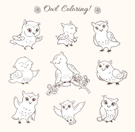 Set of vector owls, suitable for children's coloring book, as stickers, funny character for blog or site. Funny cartoon hand-drawn birds