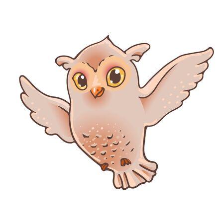Cartoon flying owl. Cute bird suitable for sticker, kids , bird illustration