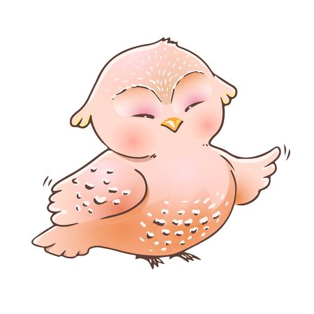Cute cartoon owl with closed eyes. Happy funny bird isolated. Drawing for kids