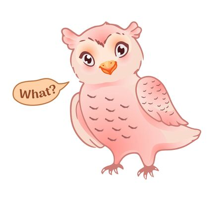 Vector pink bird character, suitable for sticker, emoji or smiley. The owl questions 'what' ? Place for text Vettoriali