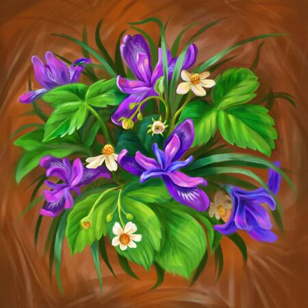 Summer or spring floral poster with purple flower of siberian iris and blooming strawberries. Botanical illustration