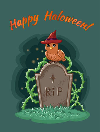Halloween owl in hat sits on a tombstone in a cemetery. Vector postcard illustration