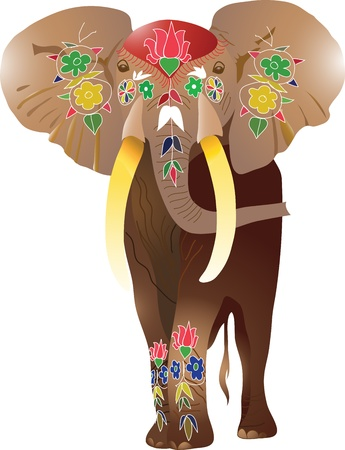 silhouettes elephants: elefante indio vector Vectores