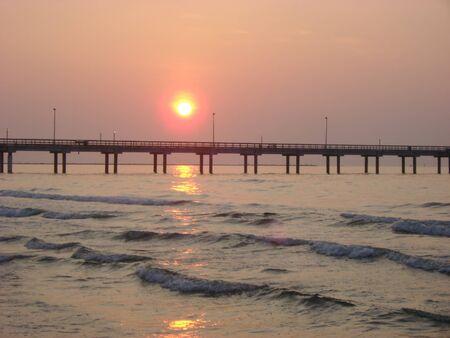 Gulf coast sunrise bridge Stock Photo
