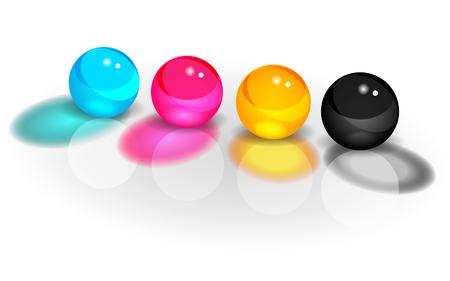 offset printing: CMYK four balls vector