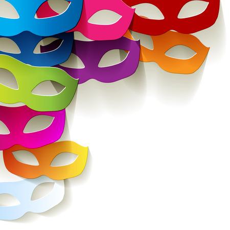 Masker van Venetië Carnaval kleurrijke in de hoek van de witte achtergrond