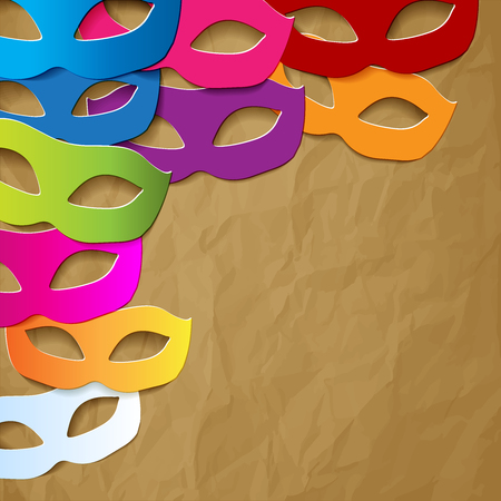 Venice carnival mask colorful in the corner of brown crumpled paper