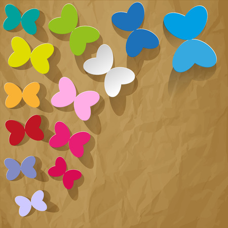 buzzer: colorful butterflies on a brown crumpled paper background