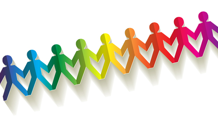 friends together: paper fellows rainbow on white background