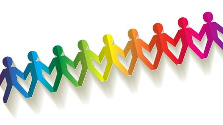 papier fellows regenboog op een witte achtergrond Stock Illustratie