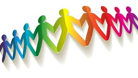 humane: paper fellows rainbow on white background