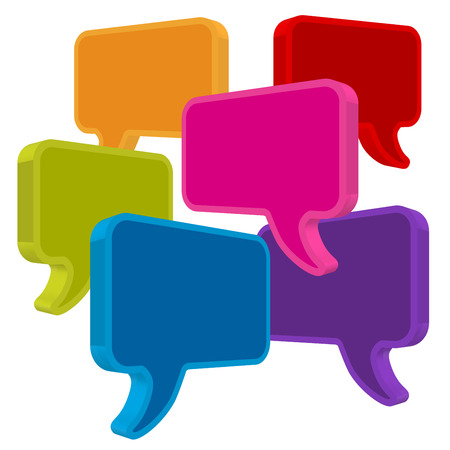 Speech bubbles in perspective colorful on white background
