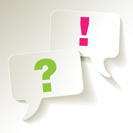 questions answers: Speech bubbles questionmark green exclamation pink Illustration