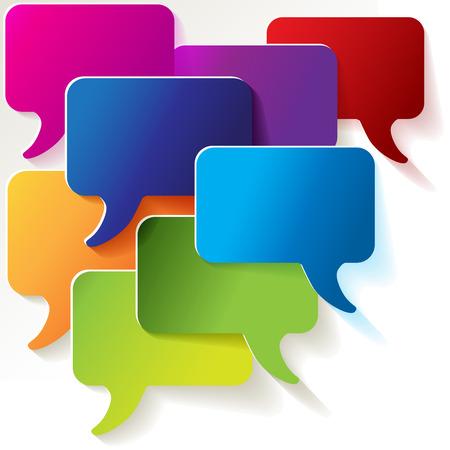 pronunciation: Speech bubbles colorful shields Illustration