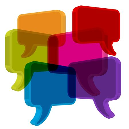 pronunciation: Speech bubbles in perspective colorful on white background
