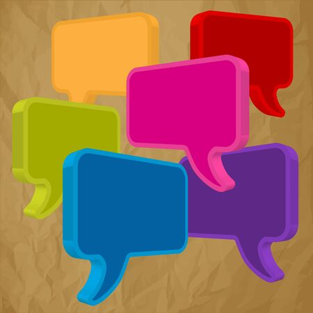 pronunciation: Speech bubbles in perspective colorful on crumpled paper brown