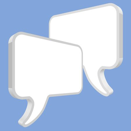 pronunciation: Speech bubbles in perspective white on a blue background Illustration