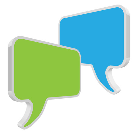 pronunciation: Speech bubbles green blue in perspective on white background