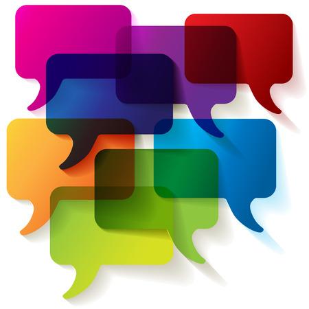 Bolle di discorso colorato trasparente