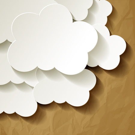 ร   ร   ร   ร  ร ยข  white clouds: White Clouds in the corner of crumpled paper brown Illustration