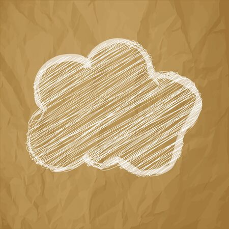 globally: White Cloud scribble in the center on a crumpled paper brown background