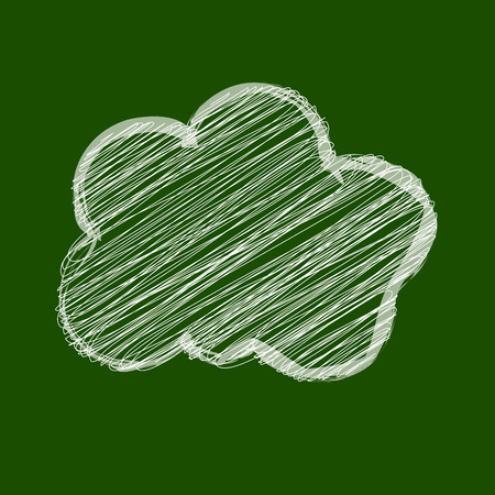 globally: White Cloud scribble in the center on a chalkboard green Illustration