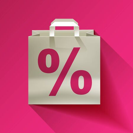 paper bag with discount percent sign Vectores