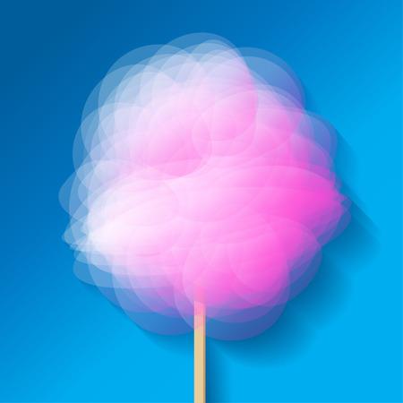 algodón de azúcar de color rosa en azul