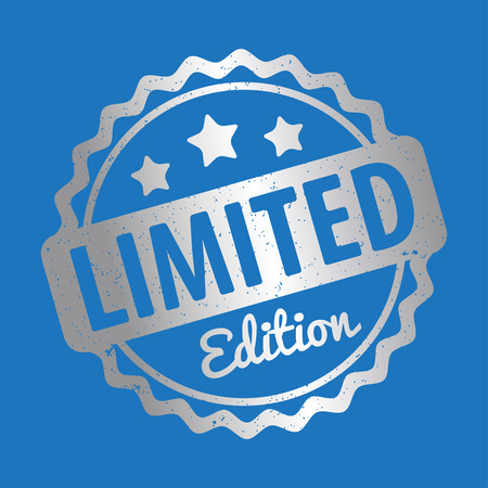 warrants: Limited Edition rubber stamp vector silver award on a blue background. Illustration