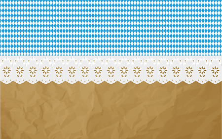 designated: Oktoberfest Bavaria Openwork diamond pattern on a crumpled paper brown background.