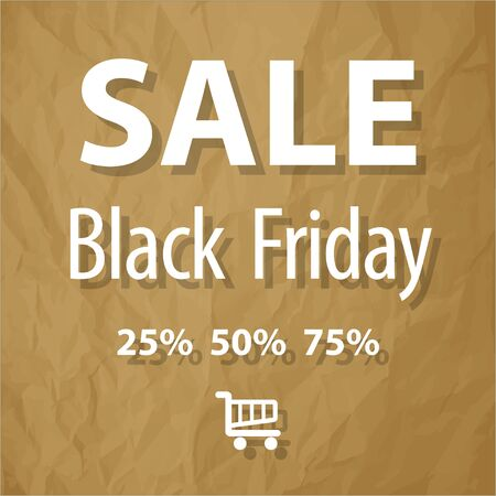 lowering: SALE Black Friday symbol on a crumpled paper brown background.