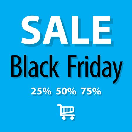 markdown: SALE Black Friday symbol on a blue background. Illustration